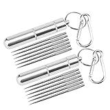 2 palillos de dientes de titanio con bolsillo de 12 piezas, reutilizables, de metal, apto para picnic, senderismo, camping