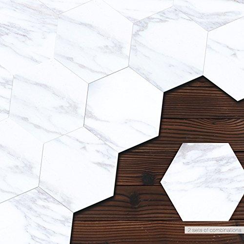 Ridewind Pegatinas de azulejos estilo mármol, 10 unidades, hexagonales resistentes al agua, pegatinas de pared ecológicas para sala de estar, baño, cocina