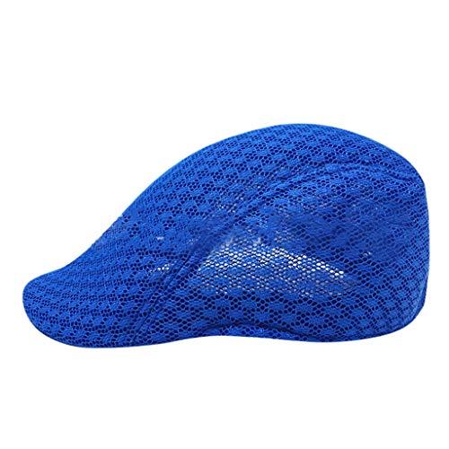 Fenverk Barett Cap Sport Flatcap | Schiebermütze Damen Herren | Flache Mütze mit Schirm | sportliche Leinen Schirmmütze Übergangszeit und Winter (B Blau)