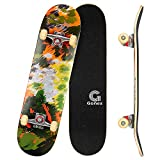 Gonex 31 x 8'' Skateboard Planche à roulettes Complète, Plateau 9 Couches en Bois d'Erable Double Kick Trick Anti-DérapantRoues PU avec Roulement ABEC-7 pour Enfants Adultes Débutants Professionnels