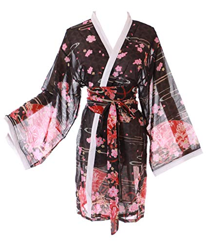KJ-09-3 zwart goudvis waaier Sakura kersenbloesem Haori overjas Geisha Kimono Yukata Harajuku Japan Kawaii