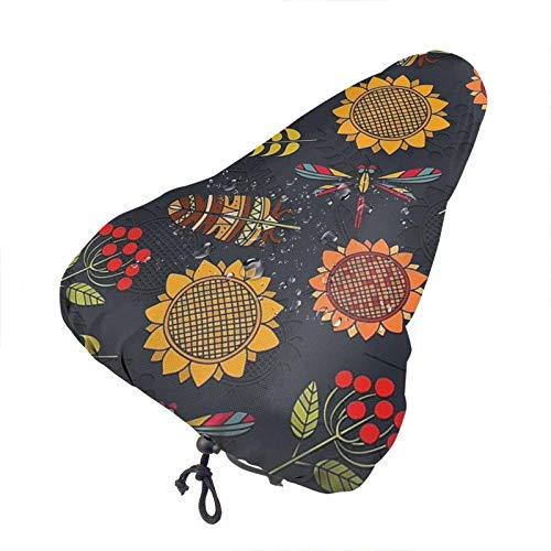GOSMAO Funda de Asiento de Bicicleta Sun Flower Funda de cojín de sillín de Bicicleta Impermeable