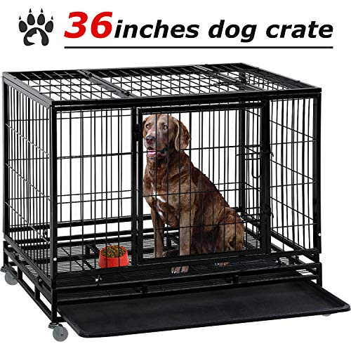 Dog Crate Dog Cage Dog Kennel for Large Dogs Heavy Duty 36 Inches Pet Playpen for Training Indoor Outdoor with Plastic Tray Double Doors & Locks Design Kennels