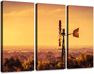 BELISIIS Windmill at Sunset in South Australia Wall Artwork Exclusive Photography Vintage Abstract Paintings Print on Canvas Home Decor Wall Art 3 Panels Framed Ready to Hang