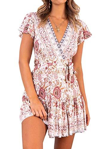 Ajpguot Vestido de Verano Mujer Impresión Mini Vestidos de Playa V-Cuello Manga Corta Vestido con Cinturón Sundress Elegante Corto Dress de Partido Fiesta