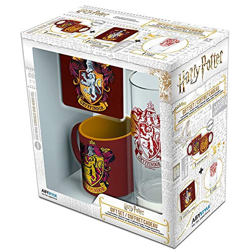 ABYstyle-Harry Potter Mini-Mug con Sottobicchiere e Bicchiere Gryffindor, ABYPCK101