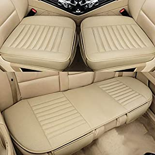 3 In 1 Car Four Seasons Universal Bamboo Charcoal Full Coverage Seat Cushion Seat Cover High Quality (Color : Beige)
