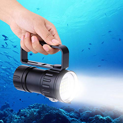 Emoshayoga Linterna subacuática de aleación de Aluminio a Prueba de Agua IPX8 18000lm 500M Linterna de Campamento Fácil de Transportar Interruptor de presión Doble No tóxico para Exteriores