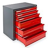 Werkstatt-Schubladenschrank mit 6 Schubladen, BxTxH: 700x435x750 mm, RAL 7016 Anthrazitgrau/RAL 3020 Feuerrot