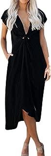 RAINED-Women's Sexy V Neck Sleeveless Dress Twist Knot Front Dress Casual Wrap Dress Club Evening Party Midi Dresses