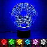 3D Illusion Lampe 7 couleurs Changement Optique Tactile Lumière USB et Télécommande Art Déco Faites Une Ambiance Romantique cadeau d'anniversaire de Noël Saint Valentin (Football)