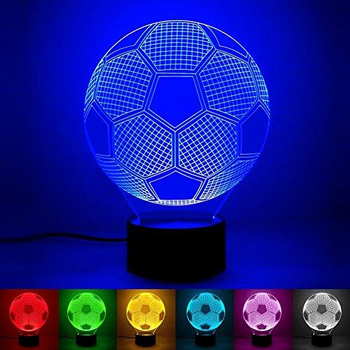 3D Ilusión óptica Lámpara LED Luz de noche Deco LED Lámpara 7 colores de control remoto con Acrílico Plano & ABS Base & Cargador usb (fútbol americano)