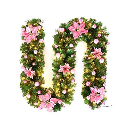 Sunjully kerstslinger met verlichting, 2,7 m kerstkrans en bessen met kunstkerstkrans met warmwitte LED-lampjes gouden PacK of 1X roze