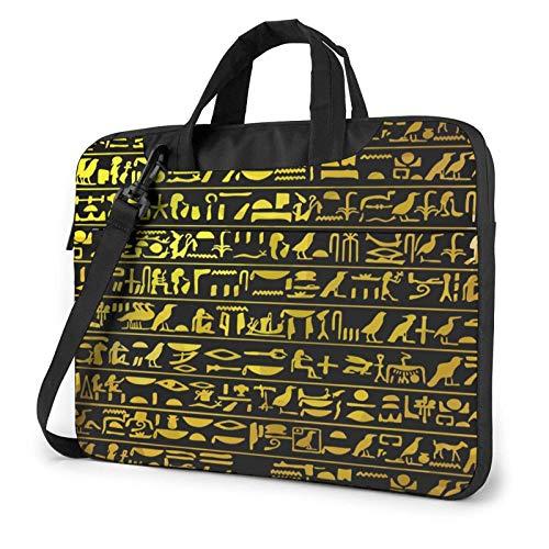 Laptop Messenger Laptoptasche Golden Egypt Pharao Piktogramm Umhängetasche Aktentasche Büro Laptop Hülle Hülle Umhängetasche Tablet für Männer Frauen
