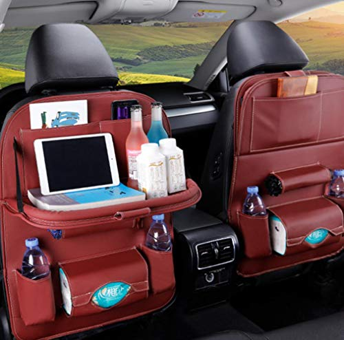 ZHANGYY 1PC PU Leather Car Seat Back Storage Hang Bag Multi-functional IPad Mini Holder Universal Back Seat Organizer for Kids Storage,wine red with tray 1
