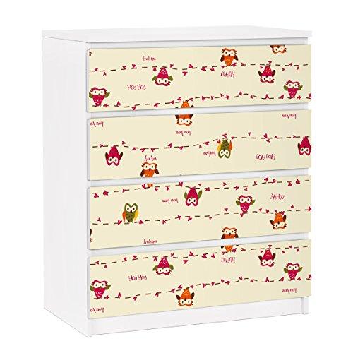 Apalis Vinilo Adhesivo para Muebles IKEA - Malm Dresser 4xDrawers - Owl Howl, Größe:4 Mal 20cm x 80cm