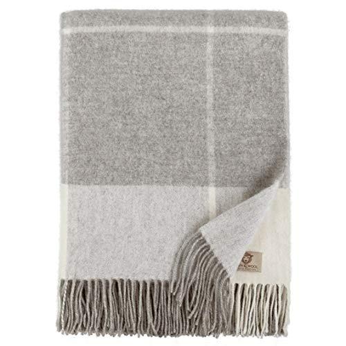 Linen & Cotton Weiche Warme Decke Wolldecke Merino Wohndecke Kuscheldecke Kariert Olivia- 100% Merinowolle, Grau/Weiß (140 x 200cm), Sofadecke/Tagesdecke/Überwurf Sofa/Plaid/Schurwolle