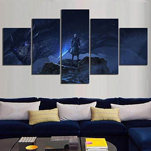 WPQL Arte de Pared Cuadro de Lienzo Modular decoración del hogar 5 Paneles película Juego de Tronos Pintura póster Impreso para Sala de Estar Cuadros