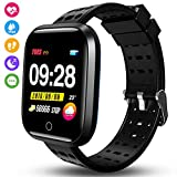 kissral Smartwatch, Orologio Intelligente Braccialetto Fitness Activity Tracker Sportivo Cardiofrequenzimetro da Polso Contapassi Calorie Cronometro Display Touch per iPhone Android iOS (Nero)