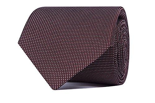 Sologemelos - Cravate Petits Points - Rouge 100% soie naturelle - Hommes - Taille Unique - Confection artesanale Made In Italy