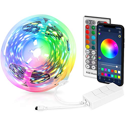 Tiras LED 5M, Tira de luz flexible LED RGB con Control Remoto Bluetooth APP, 5050 RGB LED Strip con 16 Colores y 4 Modos