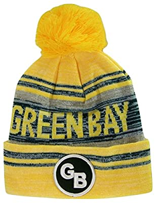 Green Bay GB Patch Fade Out Cuffed Knit Winter Pom Beanie Hat