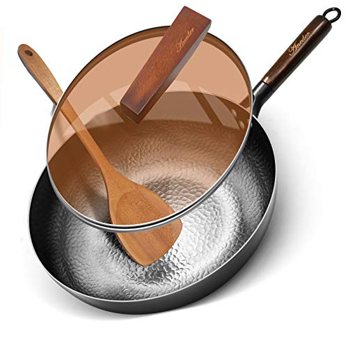 Fry Pan with Lid Wok Pan,Aneder Carbon Steel Wok Iron Pot with Detachable Wooden Handle & Wood Spatula 12.5' Frying Pan for Electric, Induction & Gas Stoves, Oven Safe