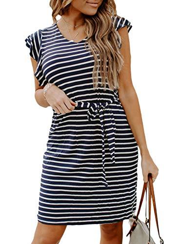 FOBEXISS Vestidos casuales para mujer, vestido de verano con volantes, vestido de moda, mini vestido suelto, estampado a rayas, cuello redondo, vestido de casa con lazo en la cintura