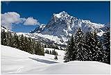 Wallario XXL Poster - Verschneiter Berghang unter blauem