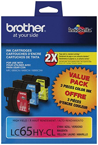 Brother LC65HY OEM Combo Cartridge Part # LC65CO3PKS, Brother MFC-6890/ 5890/ 6490/ DCP-6690CW Printers