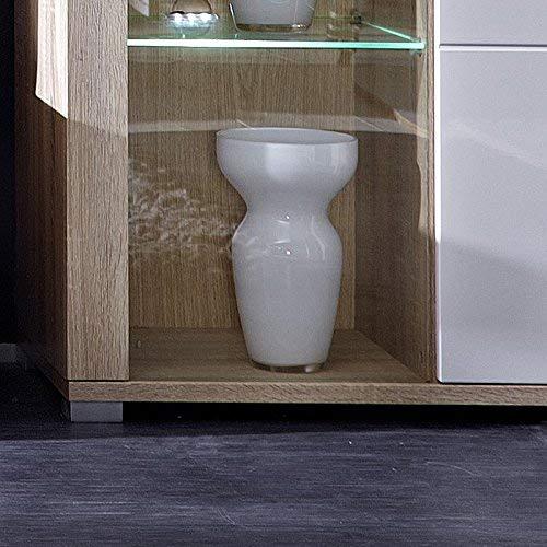 Peter DSHW561001 Vitrine Sonoma Eiche hell Nachbildung, Hochganz MDF, inklusive LED-Beleuchtung circa 87 x 202 x 38 cm, weiß - 4