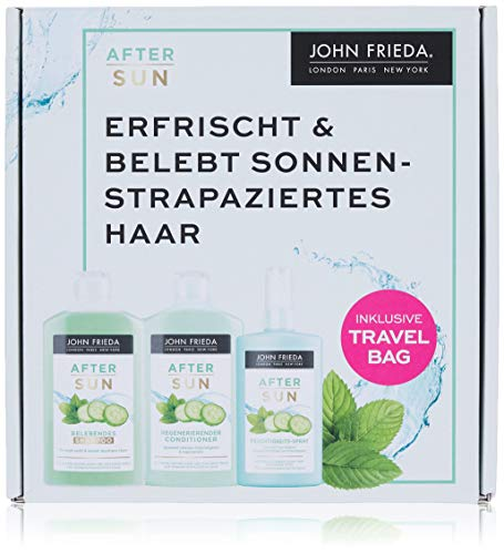 John Frieda After Sun Reise-Vorteils-Set - Shampoo, Conditioner und Feuchtigkeits-Spray, 650 ml