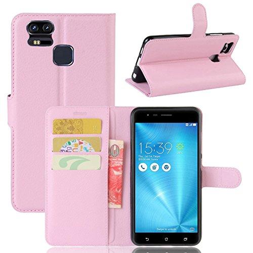 Tasche für Asus ZenFone 3 Zoom ZE553KL (5.5 zoll) Hülle, Ycloud PU Ledertasche Flip Cover Wallet Hülle Handyhülle mit Stand Function Credit Card Slots Bookstyle Purse Design rosa