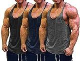 Muscle Cmdr Men's 3 Pack Stringer Tank Tops Bodybuilding Y-Back T-Shirts Gym Fitness (Black,Grey,Blue,Thin Shoulder, M)