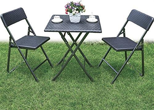 ferramenta-utensili Set Pieghevole Tavolo con Due sedie Summer Acciaio HDPE Rattan