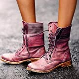 XLBHSH Women Lace-Up Winter Motorcycle Boots Women British Style Fashion Boots Gothic Punk Low Heel Bule Boots Women Shoes Plus Size,Red,41