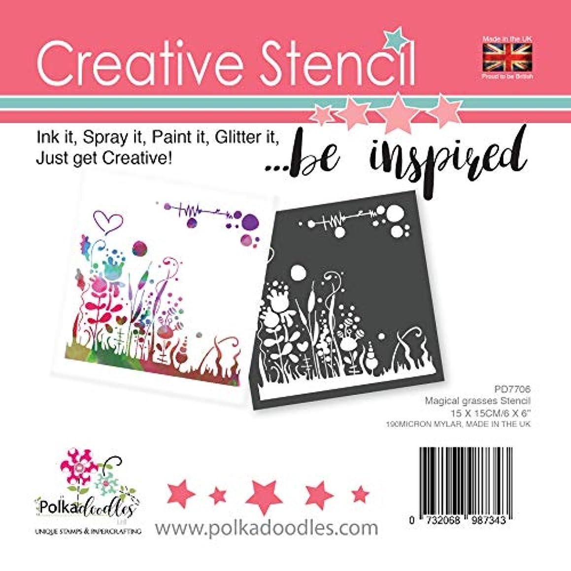 Polka Doodles Magical Grasses Stencil, 6x6