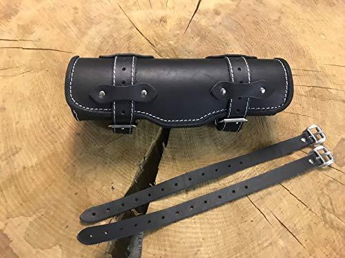 ORLETANOS gereedschapstrol Black & White Tool Bag bagagerol compatibel met HD rol bugrol lederen tas stuur witte naad stuurrol rol gereedschap Harley Davidson Chopper leer