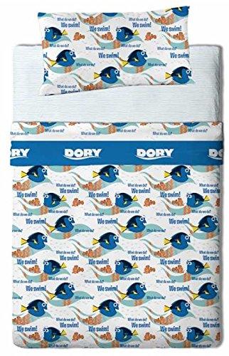 Disney Finding Dory Juego Sábanas Franela de 3 Piezas para Cama 90, Flannel, Multicolor