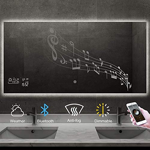 Espejo LED Deluxe - Espejo de baño LED, espejo inteligente Cuarto de baño con vanidad bluetooth Ajustable Edificio pulido enamorado Espejo de baño con pronóstico del tiempo, espejo de pared anti-niebl