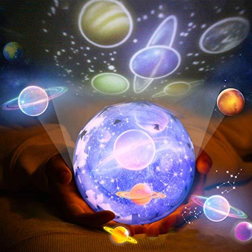Luz de noche, Luz de noche estrellada proyector, Luz nocturna, Lámpara de noche para la habitación de los niños LED lámpara Estrella 360 Grados Rotación Universo, Estrella, Regalo para Las Fiestas