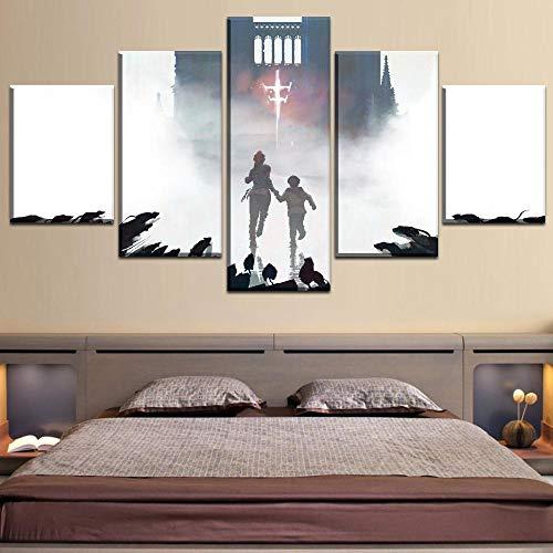 n a 5 Stück HD-Druck Gemälde Die Pest Geschichte Unschuld 2019 Modulare Moderne Dekoration Wohnzimmer Home Wand Art Deco Bild Gemälde mit fünf Bildern mit Rahmen Vlies NA