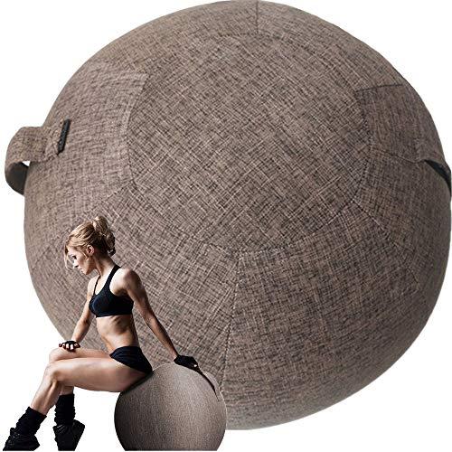 Solo coperturaPalla Fitness Sedia Palla Ufficio Palla da Seduta per Pilates Yoga Fitness Addominali Ginnastica Gravidanza Fitball Poltrona Ergonomica per Cameretta Scrivania, Marrone,65cm