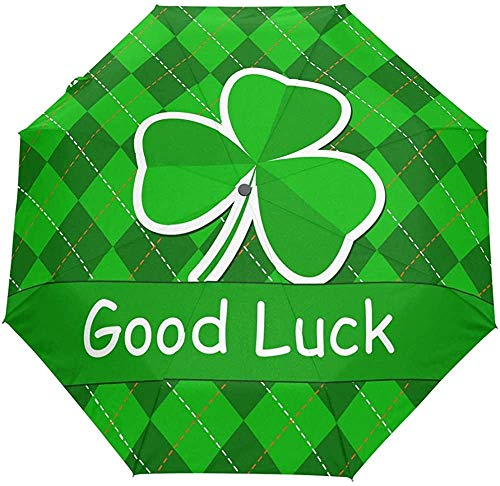 St. Patricks Day Clover Good Luck Auto Regenschirm Tartan Plaid ShamrockUmbrellas Windproof