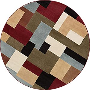 "Imperial Mosaic Multicolor Geometric Modern Casual 8 Round ( 7'10"" Round) Area Rug Easy to Clean Stain Fade Resistant Shed Free Abstract Contemporary Color Block Boxes Soft Living Dining Room Rug"