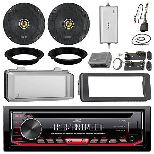 "JVC KDR490 CD Receiver Bundle/2 Kicker 6.5"" Speaker + Motorcycle Speaker Adapters + Amplifier + Dash Kit W/Radio Cover + Handle Bar Conrol Works with 98-2013 Harley Davidson + Enrock Antenna"