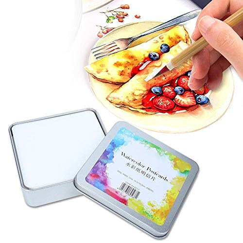 Naroote 【𝐁𝐥𝐚𝐜𝐤 𝐅𝐫𝐢𝐝𝐚𝒚 𝐋𝐨𝒘𝐞𝐬𝐭 𝐏𝐫𝐢𝐜𝐞】 Painting Paper, Acid-Free Cold Pressed Pure Cotton Paper Watercolor Paper for Portable Art Making(Square Iron Box 24 Sheets)