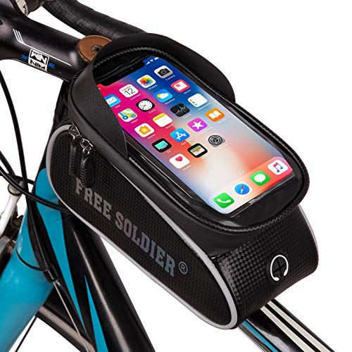 FREE SOLDIER Bolsa de Bicicleta Bolsa Cuadro Bicicleta Impermeable Bolsa de Tubo Superior Delantero Pantalla Táctil para Teléfono Inteligente por Debajo de 6,5 Pulgadas(Vistoso)