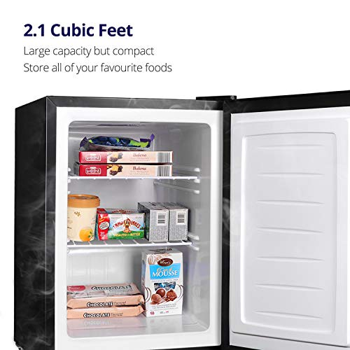 Northair Stainless Steel Upright Freezer - 2.1 Cu Ft with Removable Shelves - Reversible Door Hinge and Adjustable Feet - Quiet Mini Freezer
