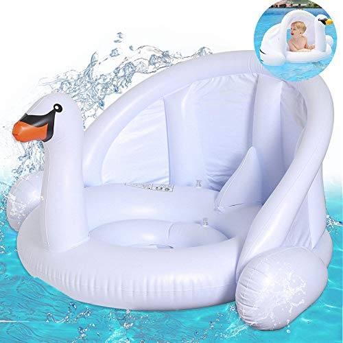 mciskin Baby weißer Schwan Schwimmring Baby weißer Schwan Schwimmhilfe Baby Pool Schwimmring mit Sonnenschutz - Aufblasbarer Schwimmreifen für Kinder ab 6 Monaten bis 48 Monaten